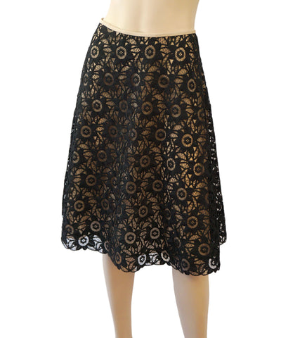 RENA LANGE Black Lace and Champagne Flared A-line Knee Skirt  6 8 NEW