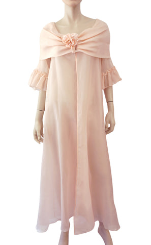 JUEL PARK BEVERLY HILLS Vintage Pink Organza Robe Dressing Gown S
