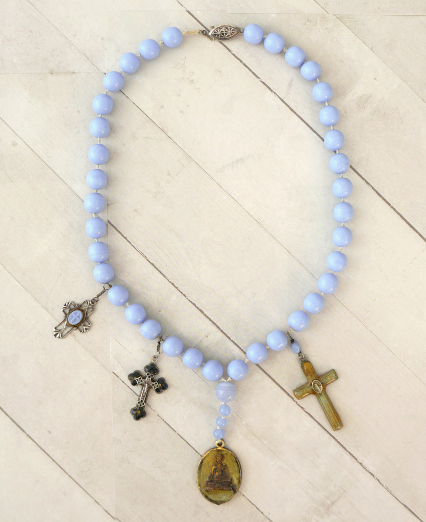 KIMMIE WINTERS Antique Blue Rosary Bead Cross Buddha Charm Necklace