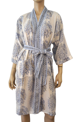 ROBERTA ROLLER RABBIT Blue and White Cotton Belted Kimono Robe S