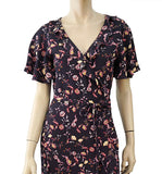 SANCTUARY Navy Floral Print Crepe Maxi Wrap Dress S NEW WITH TAGS