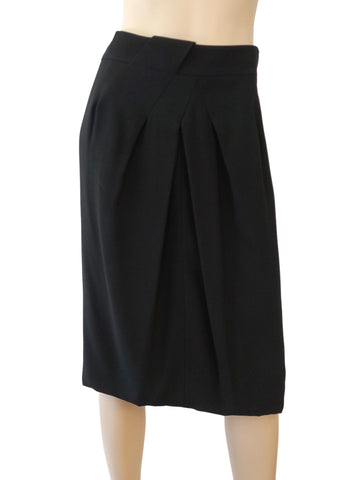 AKRIS Asymmetric Black Crepe Pleat Front Midi Skirt FR42 US 10 NEW