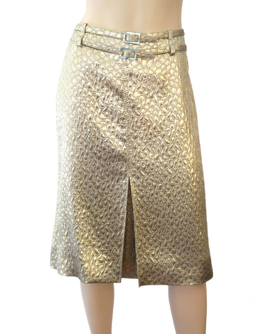 VALENTINO Metallic Gold Silk Matelasse Belted Midi Skirt 10