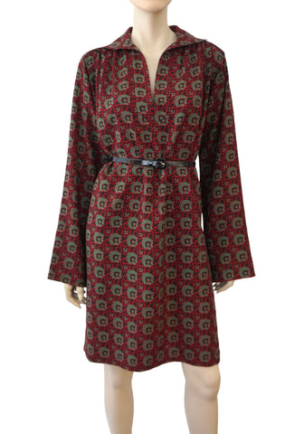 YVES SAINT LAURENT Rive Gauche Vintage Collectible Russian Print Tunic Dress M L