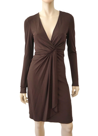 GUCCI Women's Long Sleeve Dress Brown Jersey Wrap-Effect Work M