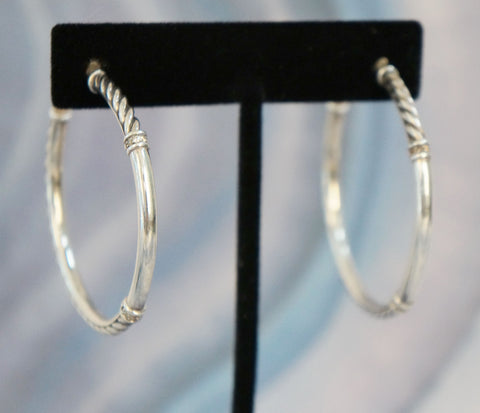 DAVID YURMAN Sterling Silver and Pave Diamond Metro Hoop Earrings 1.75in