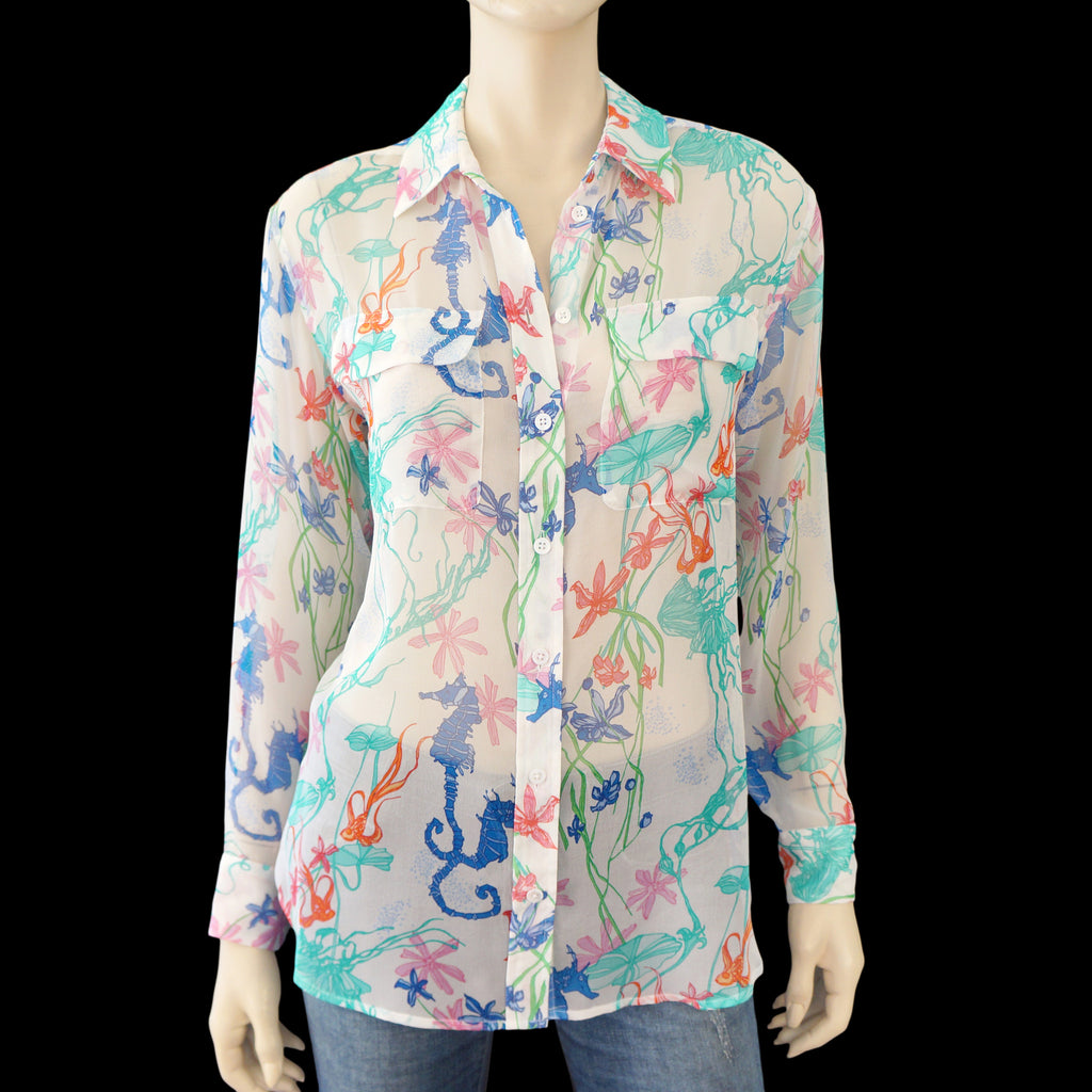 EQUIPMENT Seahorse Signature Silk Shirt, XSmall