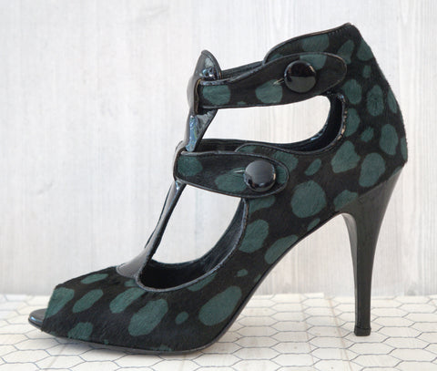 JEROME C. ROUSSEAU 39 Black Green Animal Print T-Strap Heels Booties 8.5