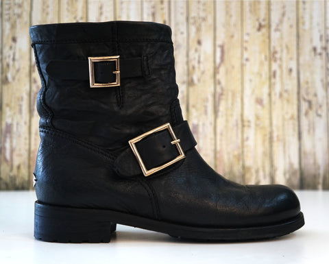 JIMMY CHOO 36.5 Youth Biker Boots Crushed Black Leather 6 EXCELLENT