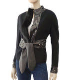 VALENTINO Black Mink Wool Leather Rhinestone Jacket 8
