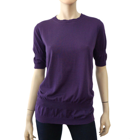 MARNI Short Sleeve Purple Cashmere Knit Double Hem Sweater Top 6