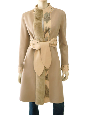 VALENTINO Beige Wool Cashmere Mink Leather Embellished Coat Jacket 10