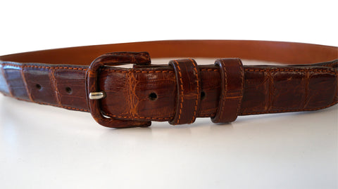 VESTIMENTA Men's Genuine Chestnut Brown Cayman Crocodile Leather Belt 40