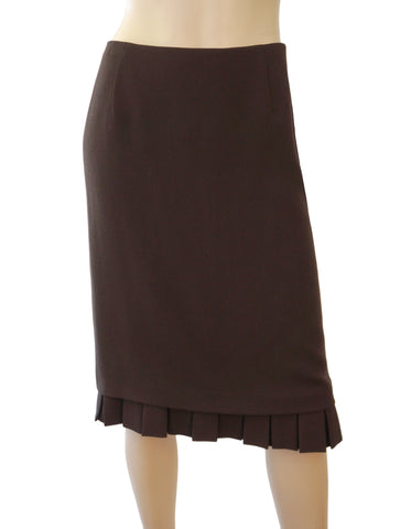 VALENTINO Brown Wool Crepe Box Pleat Hem Knee Skirt 10