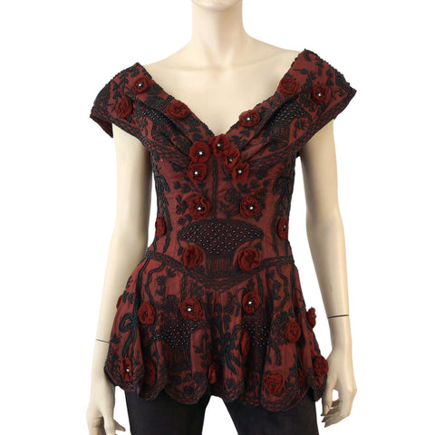 EAVIS & BROWN Vintage Beaded Burgundy Red Silk Peplum Corset Top S
