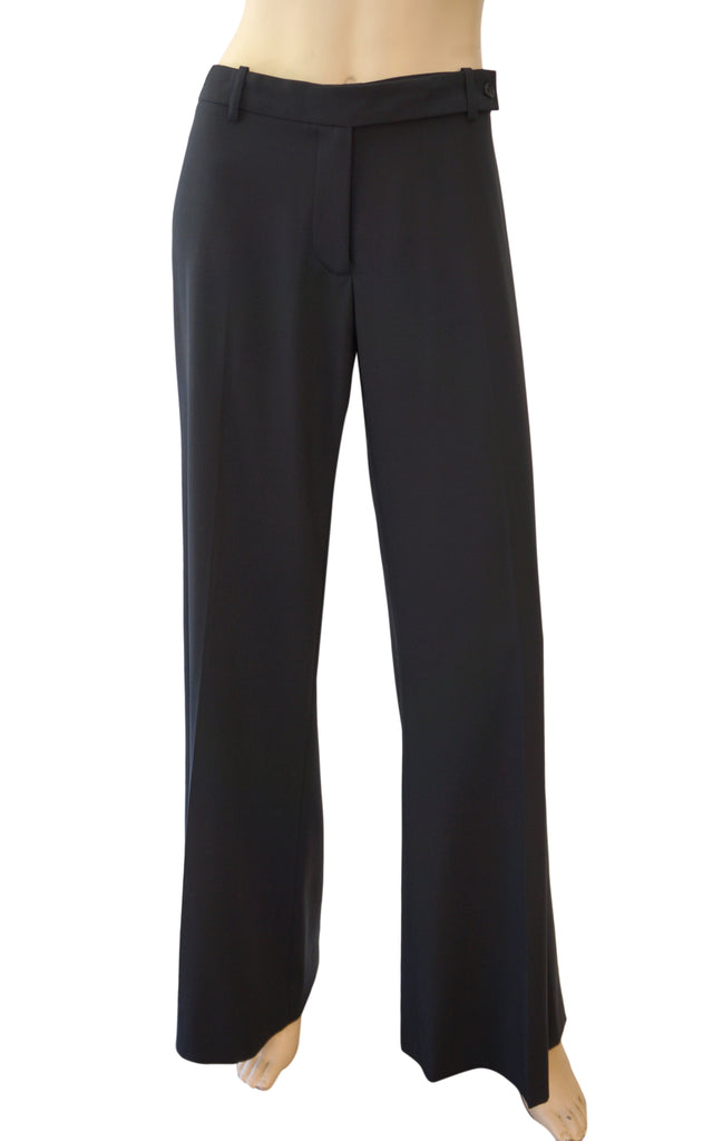 MICHAEL KORS COLLECTION Black Wool Wide Leg Dress Pants 12 NEW