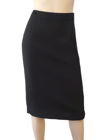 ROBERTO CAVALLI Black Wool Crepe Pencil Skirt Zipper Vent XS