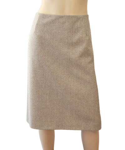 CAROLINA HERRERA Beige Herringbone Wool Blend Pencil Skirt 10