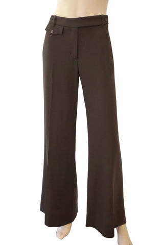 MICHAEL KORS COLLECTION Ebony Brown Wool Crepe Flared Pants 10 NEW