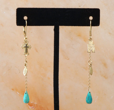 XIV KARATS BEVERLY HILLS 14K YG Turquoise Drop Charm Earrings 2.5""