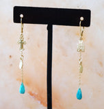 XIV KARATS BEVERLY HILLS 14K YG Turquoise Drop Mismatched Charm Earrings 2.5""