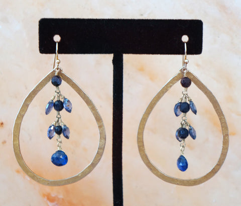 DESIGNER Hammered Gold Teardrop Dangle Earrings with Blue Stones