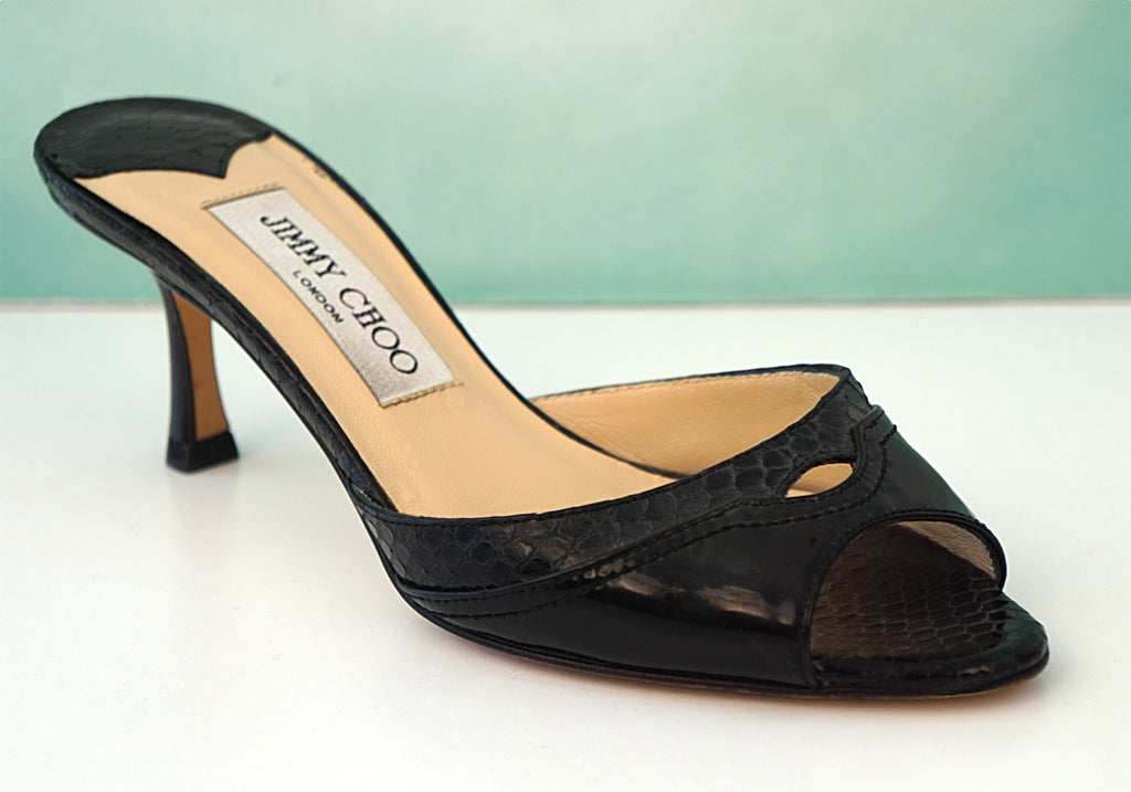 JIMMY CHOO Black Leather Snakeskin Peep Toe Kitten Heel Sandals 35 US 5