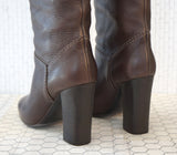 CHLOE 37.5 Brown Pebbled Leather Pull On Knee Boots 7 NEW