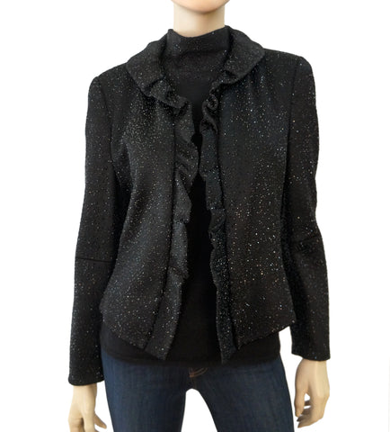 GIORGIO ARMANI BLACK LABEL Crystal Embellished Zipper Evening Jacket 48 US 12