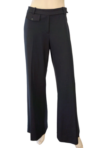 MICHAEL KORS COLLECTION Black Stretch Wool Flared Leg Dress Pants 10