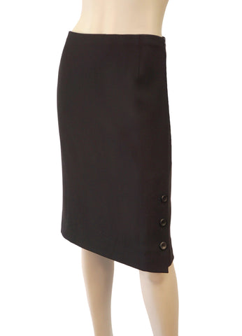 VALENTINO Espresso Brown Wool Gabardine Button Slit Pencil Skirt 10