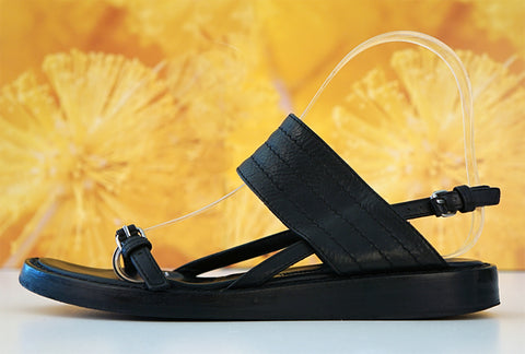 ANN DEMEULEMEESTER 35 Black Leather Buckle Strap Sandals Flats 5