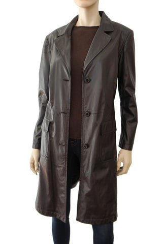GIORGIO ARMANI BLACK LABEL Brown Lambskin Leather Trench Coat Jacket 48 US 12