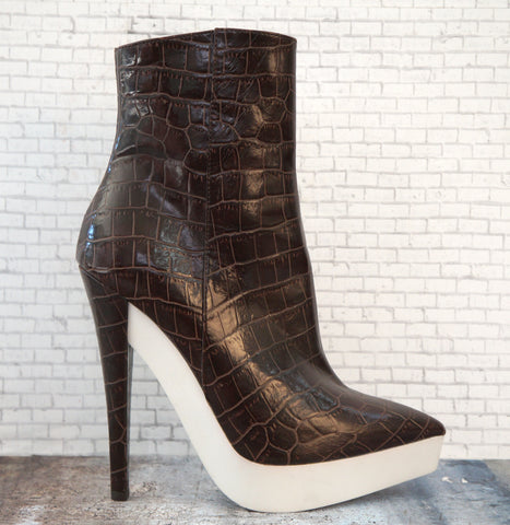 ALEXANDER WANG Faux Crocodile Booties, 37/6.5