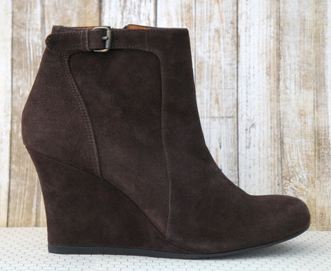 LANVIN Suede Wedge Ankle Booties w/ Tags, 37.5/6.5