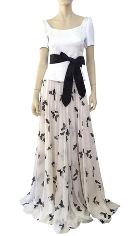 ANDREW GN Butterfly-Print Chiffon Ball Skirt, Large