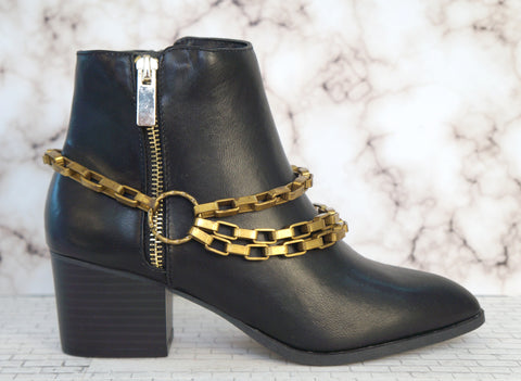 CANDACE ANG Gold Chain Link Boot Ankle  Metal Jewelry