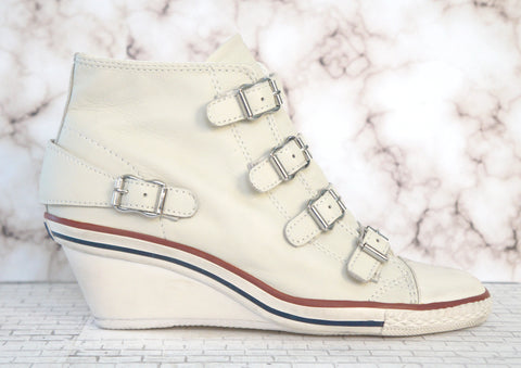 ASH 6.5 Genial White Leather Wedge Sneakers High Top Buckles NEW