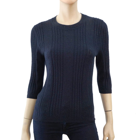 CAROLINA HERRERA Navy Cashmere Silk Cable Knit Half Sleeve Crewnck Sweater Top M
