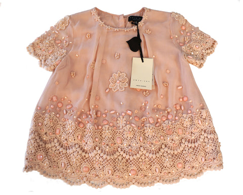 TWIN-SET Simona Barbieri Girls 8 Embellished Peach Chiffon Top NEW WITH TAGS