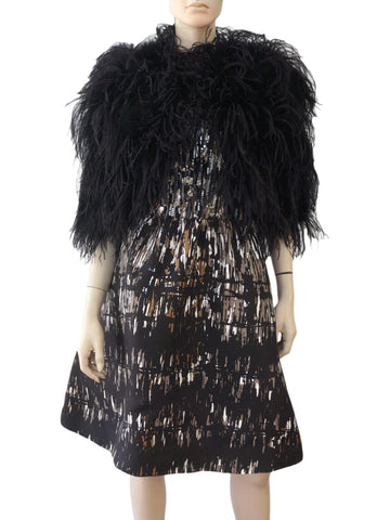 RALPH LAUREN PURPLE LABEL Black Ostrich Feather Bolero Shrug Cape M L
