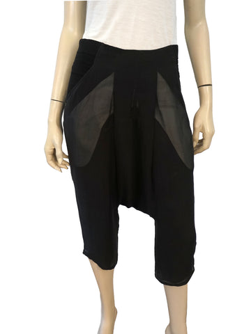 RICK OWENS DRKSHDW Black Silk Drop Crotch Harem Shorts Pants 42 US 6