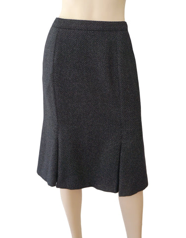 YVES SAINT LAURENT Fluted Navy Wool Tweed Pencil Skirt 38 US 6