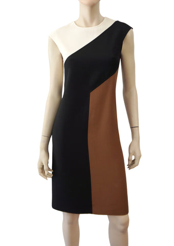 MICHAEL KORS COLLECTION Dress Ivory Black Wool Sleeveless Sheath US 4