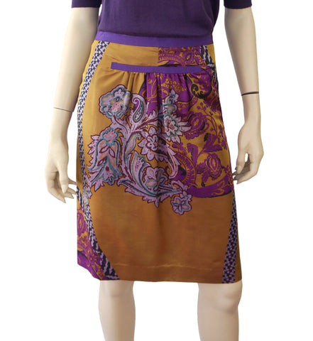 ETRO Gold Purple Paisley Printed Silk Pencil Knee Skirt 42 US 6