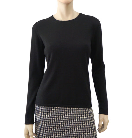 OSCAR DE LA RENTA Cashmere-Silk Jewel Neck Sweater, Medium