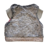MARESE Girls Sz 8 Embellished Faux Fur Gray Jacket Vest