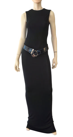 Tom Ford GUCCI Sleeveless Black Stretch Jersey Evening Gown S Iconic