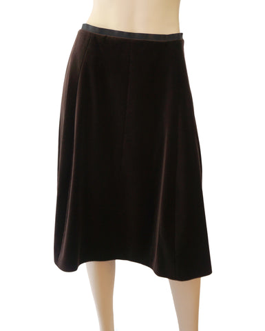 LANVIN Dark Brown Cotton Velvet Flared Knee Skirt 40 US 8