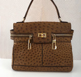 MAX MARA Margaux Large Brown Ostrich Leather Satchel Bag